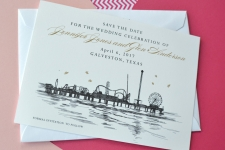 Galveston Skyline Save the Date Cards