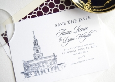 Independence Hall Skyline Save the Date Cards