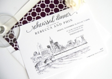 Indianapolis Skyline Rehearsal Dinner Invitations