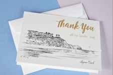 Laguna Beach Skyline Wedding Card Thank You Cards