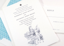 Caesars Palace Las Vegas Skyline Wedding Invitations