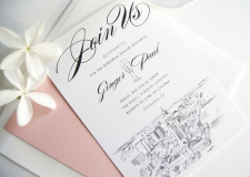 Lincoln Nebraska Skyline Rehearsal Dinner Invitations