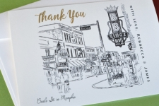 Memphis at Beale Street Wedding Card Thank You Cards