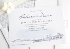 Memphis Pyramid Skyline Rehearsal Dinner Invitations