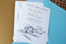 Memphis Graceland Skyline Save the Date Cards
