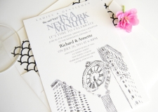 New York 5th Ave Clock Skyline Rehearsal Dinner Invitations