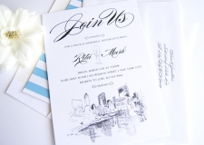New York Central Park Skyline Rehearsal Dinner Invitations
