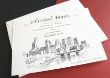 Philadelphia Skyline Rehearsal Dinner Invitations