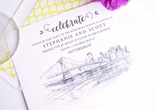 Pittsburgh Skyline Rehearsal Dinner Invitations