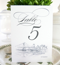 Pittsburgh Skyline Table Numbers