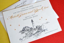 Portlandhead Light Skyline Starry Night  Save the Date Cards