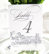 Sacramento Skyline Table Numbers