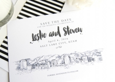Salt Lake City Skyline Save the Date Cards
