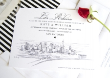 San Antonio Skyline Rehearsal Dinner Invitations
