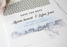 San Jose Skyline Save the Date Cards