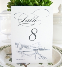 San Francisco Skyline Table Numbers
