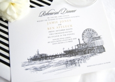 Santa Monica Pier Skyline Rehearsal Dinner Invitations