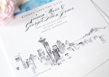 Seattle Skyline Save the Date Cards