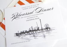 Galveston Skyline Rehearsal Dinner Invitations