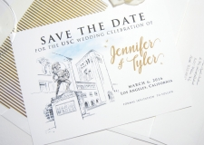 USC Trojans Skyline Save the Date Cards