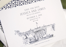 White House, Washington DC Skyline Save the Date Cards