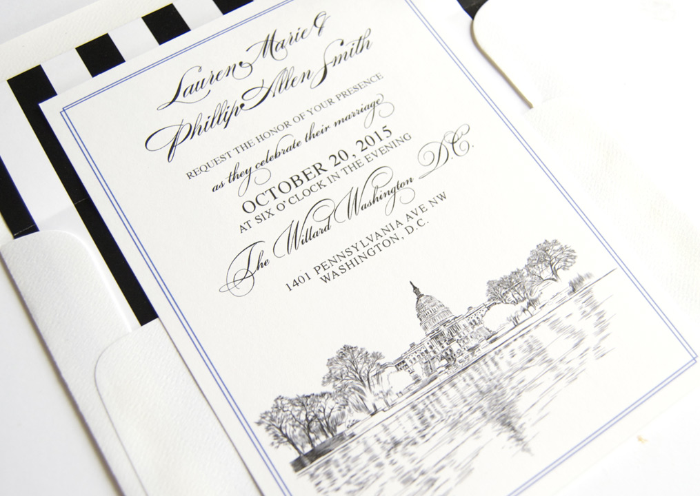 Washington D C Skyline Wedding Invitations