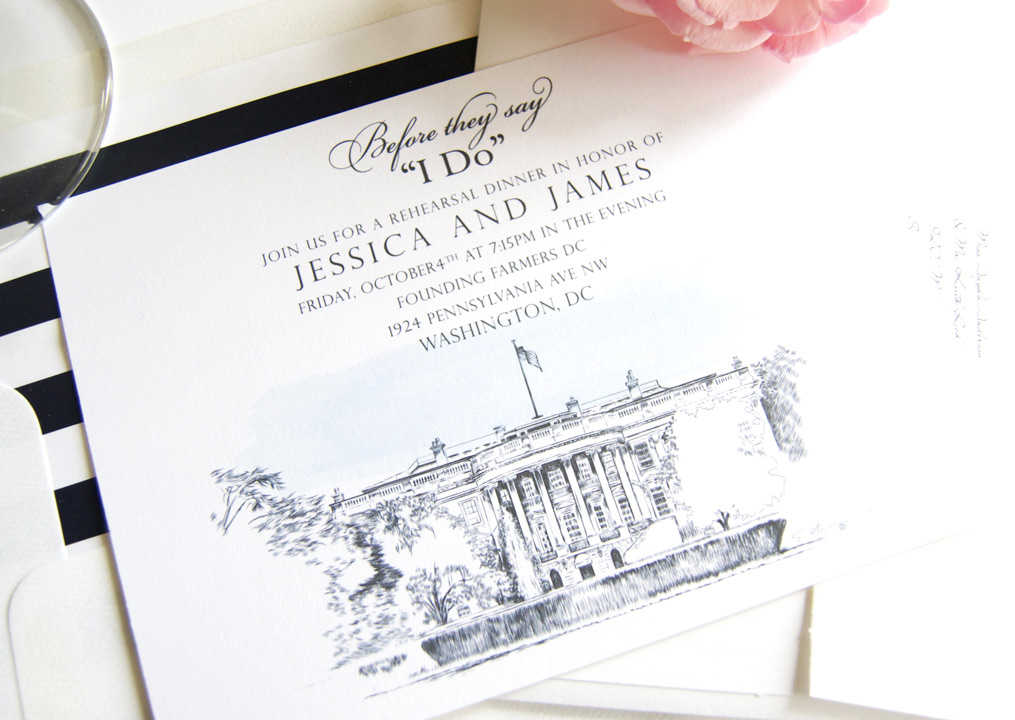 Washington Dc Skyline Rehearsal Dinner Invitations